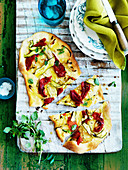 Flatbread with roasted peppers and zucchini