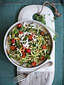 Spaghetti con il pesto di menta e ricotta salata (spaghetti with mint pesto and rictooa salata, Italy)