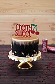 A festive cherry cola cake
