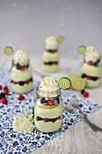 Lime cake in glass jars