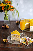 Mango and passion fruit cheesecake, sliced