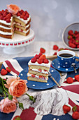 Victoria sponge cake with strawberries (England)
