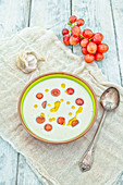 Ajo Blanco (Cold garlic and almond soup with grapes, Spain)