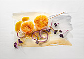 Food art: scallops on a stick, red onions, water cress and curry sauce on a page of watercolour