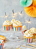 Party cupcakes with sparklers