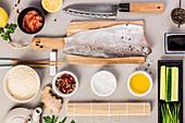 Traditional sushi ingredients