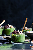 Coconut Matcha Rice Pudding with Date and Adzuki Bean Paste