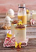 Ricotta and egg liqueur cream in glasses as an Easter dessert