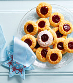 Classic jam drop biscuits, filled with red currant jam