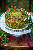 Wild strawberries pistachio cake