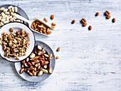 Verschiedene Nüsse und Mandeln