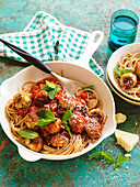 Pasta with chicken, minted pea and ricotta meatballs