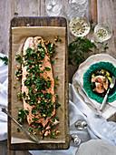 Salmon with Herb and Walnut Salasa