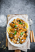 Roasted aubergine, carrot and farro salad