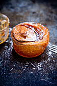 A mini tarte tatin baked in a glass