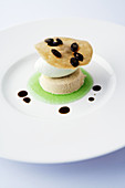 Pumpkin seed parfait with apple sorbet on apple soup