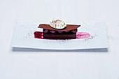 Gianduja cake with morello cherry compote and vanilla foam