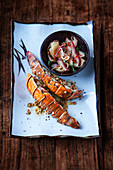 Grilled langoustine tail with a water apple and green papaya salad