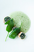 Spinach foam with spinach crepes
