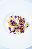 Cauliflower salad with rape seed flowers