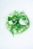 Cold cucumber soup with goat's cheese and dill