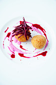 Baked rice balls with beetroot