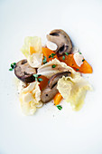 Apricots, porcini mushrooms and lettuce with lemon thyme