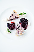 Blueberry tart with blackberries