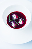 Iced beet root soup with crème fraîche
