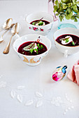 Red beets cream soup with cream cheese