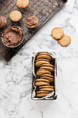 Sandwich cookies filled with chocolate cream
