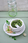 Parsley pesto in a mortar