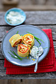 Oven-baked pancake rolls with herb quark