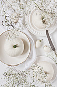White pumpkins and white mini eggplants on white plates and white background