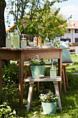 Drinks for garden party on wooden table and stools