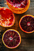 Blood oranges, halved and squeezed