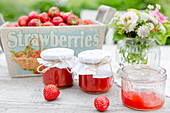 Strawberry jam in jars