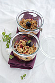 Blackberry crumble with hazelnuts