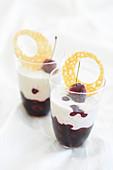 Stracciatella cherry fruit jelly cups