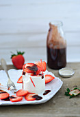 Panna cotta with strawberry and balsamic sauce