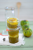 Tomato chutney made with green zebra tomatoes and oranges