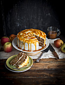 Apple cake with caramel frosting