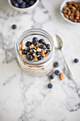 Over night oats with blueberry almonds