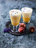 Peach floats with lavender