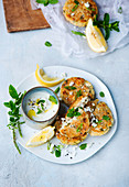 Vegetarian cauliflower cakes with mint yoghurt