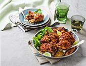 Tandoori chicken (spicy marinated chicken, India)