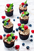 Chocolate cupcakes with chocolate and cream cheese frosting