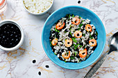 Lime rice with shrimps, black beans and cilantro