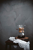 Chemex coffee maker placed on trunk-made