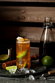 Dark and Stormy Cocktail with Rum and Ginger